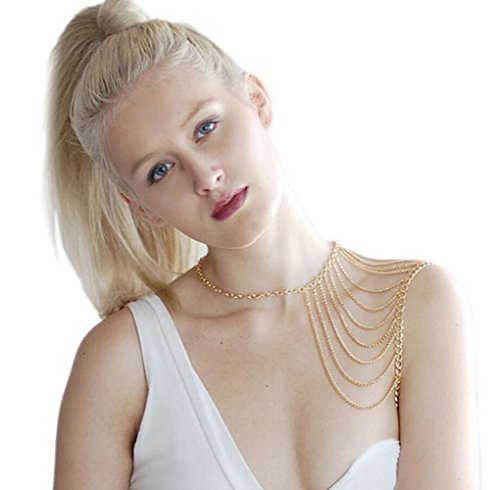 Most Beloved Layered Shoulder Body Chain Jewelry Body Harness Fine Chain Gold and Silver - Kid Party Australian Sunglasses