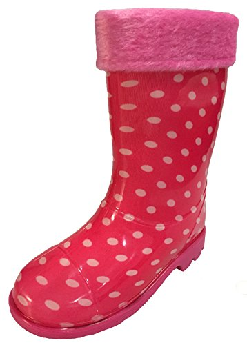 Toddler & Little Girls Youth Pink Polka Dot Rain Snow Boots w/Great Lining, Comfortable (11.5)