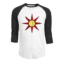 Men's Neck Cotton Raglan tee Dark-souls Tee shirt L Black cool 3/4 sleeve