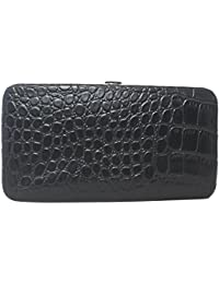 Faux Snakeskin Leather Flat Hard Case Large Clutch Wallet