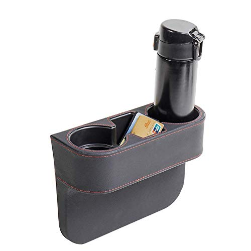 IOKSCTER Car Cup Holder Expander with PU Leather Cover, Multifunction Car Seat Pocket Glove Phone Mount Organizer,Car Back Seat Storage for Drink Mug Bottle CellPhones Coasters Cards (Black)