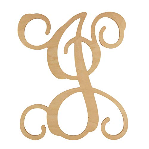 48 Hour Monogram Choose Your Letter and Size! - Single Vine Unfinished Letter (J, 12)