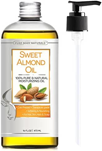 Sweet Almond Oil Triple AAA+ Grade Quality Hexane Free For Hair For Skin and For Face - 100% Pure from Spain - Cold Pressed - 16 fl oz by Pure Body Naturals