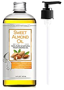 Pure Body Naturals Organic Cold Pressed Sweet Almond Oil for Hair, Skin & Nails, 16 Fl. Oz.