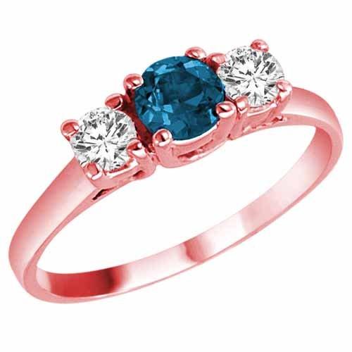14K Rose Gold Round 3 Stone Blue Diamond and White Diamond Ring (1 cttw) – Size 6