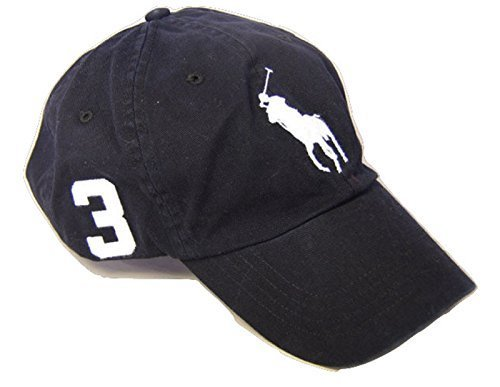 Polo Ralph Lauren Men Big Pony Logo Hat Cap (One size, Black/White)