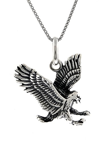 Heart Beats Solid Sterling Silver Eagle Powerful Birds of Prey Pendent, Chain Necklace (Necklace)
