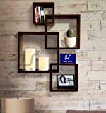 Amaze Shoppee Wooden Wall Mounted Shelf Rack for Living Room Decor (Brown) - Set of 4 (Design1C)