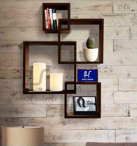 Amaze Shoppee Wooden Wall Mounted Shelf Rack For Living Room Decor Brown Set Of 4 Design1c Amazon In Electronics