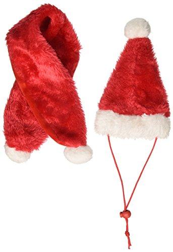 Kole Imports SA438 Holiday Pet Santa Hat & Scarf Set,Multicolored Dog Hat Set
