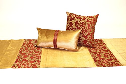 Elegant Traditional Gold Velvet and Red Bed Scarf with Coordinating Pillows, Regal Bed Runner and Two Pillows with Inserts Included by Fabrinique