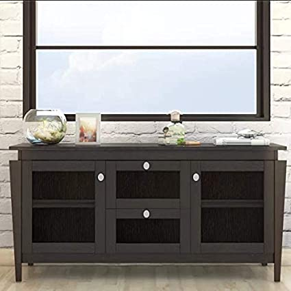 Merveilleux Arnwine Brown Finish Sideboard/Buffet With 2 Side Cabinets In Tempered  Glass Doors And 2