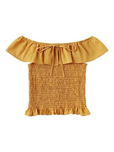 Ruffle Chest (ROMWE Women's Off Shoulder Ruffle Trim Pleated Crop Top Blouse Yellow XL/(US 6))