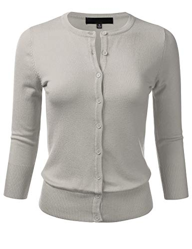 FLORIA Women's Button Down 3/4 Sleeve Crew Neck Knit Cardigan Sweater Grey S