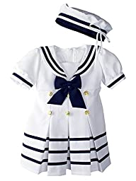 Baby Toddler Girls Nautical Sailor Dress with Hat Small / 3-6 Months White