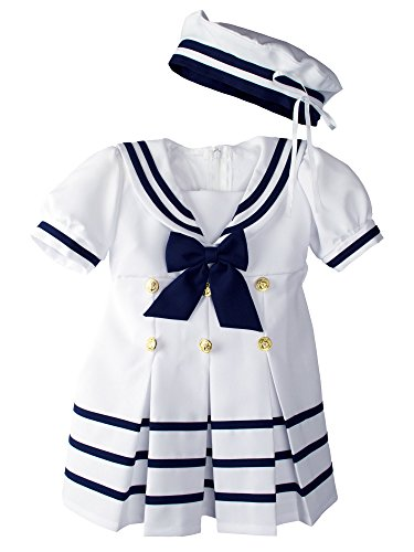 Baby Toddler Girls Nautical Sailor Dress with Hat Small / 3-6 Months White (Show Girl Outfits)