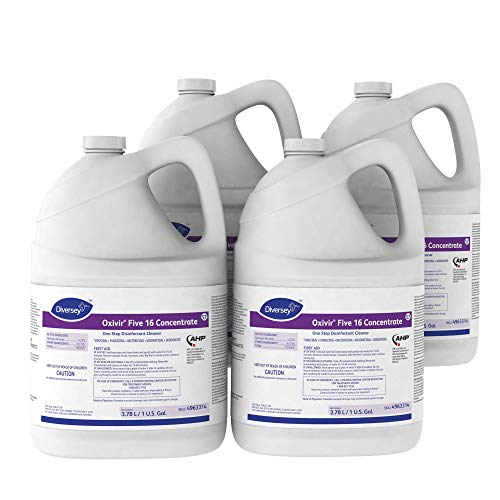 Diversey Oxivir Five 16 Concentrate One-Step Premium Disinfectant Cleaner, 1 Gallon Bottle, 4 Bottle Value - Gallon Bottles 4 One