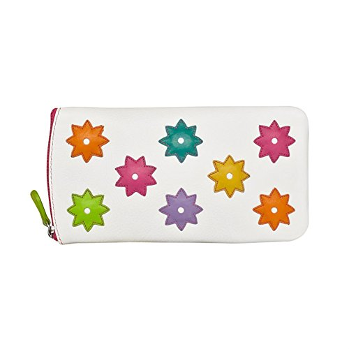 ili 6464 Leather Eyeglass Case with Flower Power Detail (White Brights)