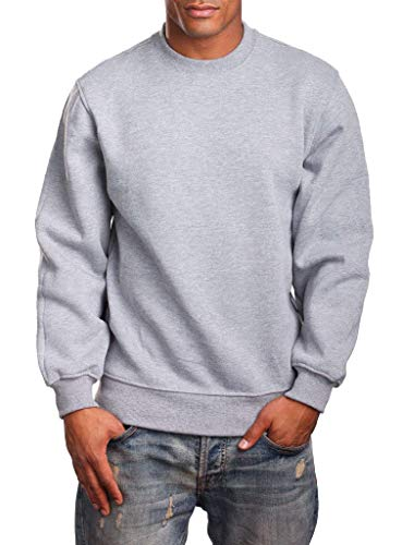 Woodland Supply Co. Men's Heavyweight Fleece Crewneck Pullover Sweatshirt (Large, Heather Grey)