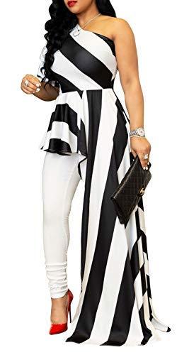 - Aro Lora Women's Stripe Print One Shoulder Ruffle High Low Irregular Long Blouse Tops Shirt Dress Maxi Dress X-Large White Black