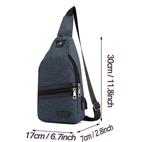 For With Lightweight Crossbody Travel Charging Port Daypack Sling Backpack Usb Casual Men Blue Nylon Packs Triangle Hiking Chest Bag Shoulder f66BwqI0Pn