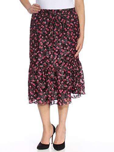 LAUREN RALPH LAUREN Womens Metallic Floral Print Flounce Skirt Black S - Print Ralph Skirt Lauren