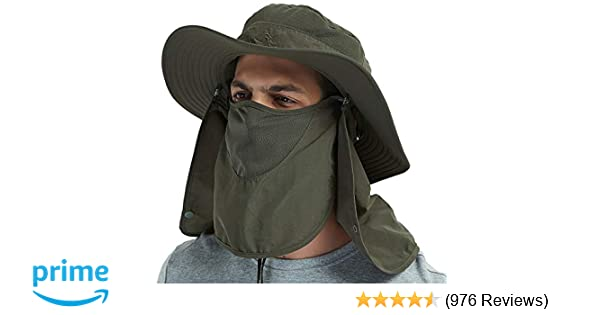 c46dfe52444 Amazon.com   DDYOUTDOOR Vvip 07-281 Fashion Summer Outdoor Sun Protection Fishing  Cap Neck Face Flap Hat Wide Brim (Army Green)   Sports   Outdoors
