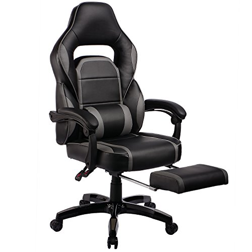 GTPOFFICE High Back PU Leather Adjustable Ergonomic Gaming Chair Swivel Computer Desk Office Chair Conference Executive Armchair with Padded Footrest Gray