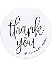 """Bliss Collections Thank You Tags, Classic Black and White Favor Tags for Weddings, Receptions, Bridal Showers, Baby Showers, Birthdays, Special Events or Celebrations, 2.5"""" Round Tags (Pack of 50)"""
