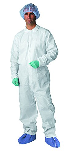 Medline NONCV700XXXL Microporous Breathable Coveralls, Elastic Wrist and Ankle, 3X-Large, White (Pack of 25)