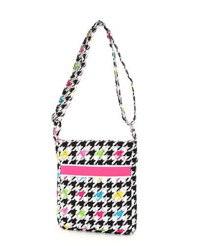 Belvah Quilted Multi Color Houndstooth Hipster Cross Body Handbag – Choice of Colors (Fuchsia), Bags Central