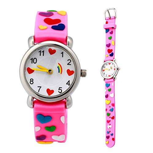 Eleoption Waterproof Kids Watches for Kid Girls Boys Toddlers Watch 3D Cute Cartoon Silicone Wristwatches Time Teacher Gift for Little Kids Boys Girls Children Birthday Gift (Hearts-Pink) ()