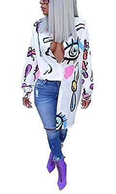 Bluewolfsea Women's Casual Lips Print Long Sleeve Button Down Tunic Shirt Dress