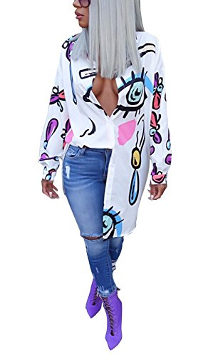 Bluewolfsea Women's Fashion Tunic Blouse Long Sleeve Button Up Dresses With Collar Large White