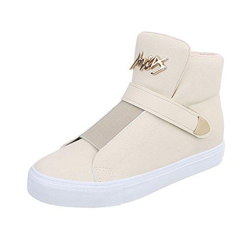 Zapatos para mujer Zapatillas Plano Zapatillas altas Ital-Design Beige