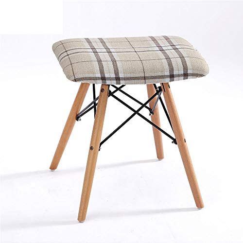 HUACANG Fabric Wood Stool Household Square Detachable Cloth Cover Stool Metal Stabilizing Bracket (Color : ()