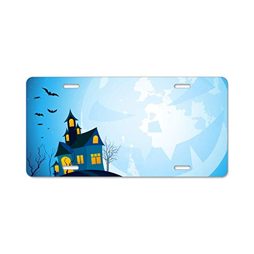 YEX Abstract Halloween castle3 License Plate Frame Car Licence Plate Covers Auto Tag Holder 6
