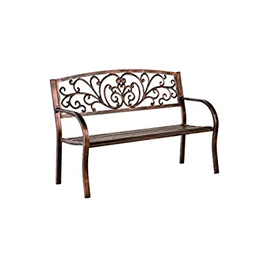 Plow & Hearth Blooming Garden Bench, Metal, Bronze Finish, 50 in L x 17 1/2 in W x 34 1/2 in H