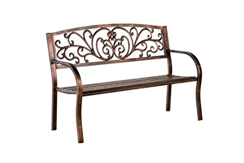 Blooming Patio Garden Bench Park Yard Outdoor Furniture, Iron Metal Frame, Elegant Bronze Finish, Sturdy Durable Construction, Scrollwork Design, Easy Assembly 50 L x 17 1/2 W x 34 1/2 H by Plow & Hearth
