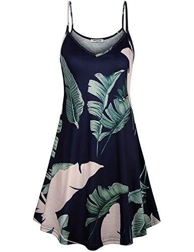 SeSe Code Spaghetti Dress,Summer Dresses Flared Soft Swing Strappy Tank Tops Rounched Flowy Loose Fitted Holiday Dating Sundress Cami Dark Blue X-Large