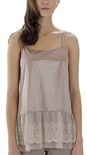 Circles Slip (Melody [Shop Lev] Women's Satin Top Extender Camisole Slip With Circle Lace On The Bottom (Mocha, Large))