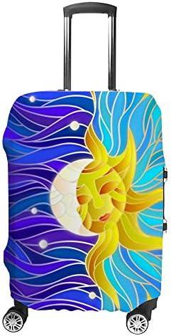 スーツケースカバー 伸縮素材 トランク カバー 洗える 汚れ防止 キズ保護 盗難防止 キャリーカバー おしゃれ 太陽 月柄 ポリエステル 海外旅行 見つけやすい 着脱簡単 1枚入り