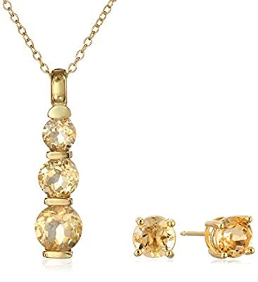 18k Yellow Gold Plated Sterling Silver Gemstone Journey Pendant Necklace and Stud Earrings Set