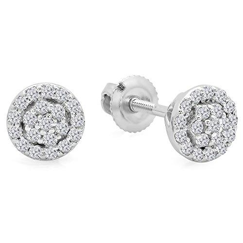Dazzlingrock Collection 0.25 Carat (ctw) 10K Round White Diamond Ladies Circle Cluster Stud Earrings 1/4 CT, White Gold