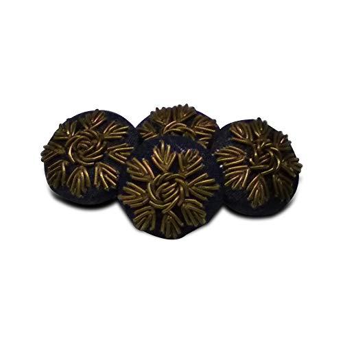 Jacknjewel hand embroidery buttons for ladies dress & mens sherwani using dabka & zardosi, Aari work (Brown color, pack of 4 pieces)