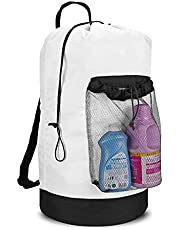 Dalykate Backpack Laundry Bag, Laundry Backpack with Shoulder Straps and Mesh Pocket Durable Nylon Backpack Clothes Hamper Bag with Drawstring Closure for College, Travel, Laundromat, Apartment
