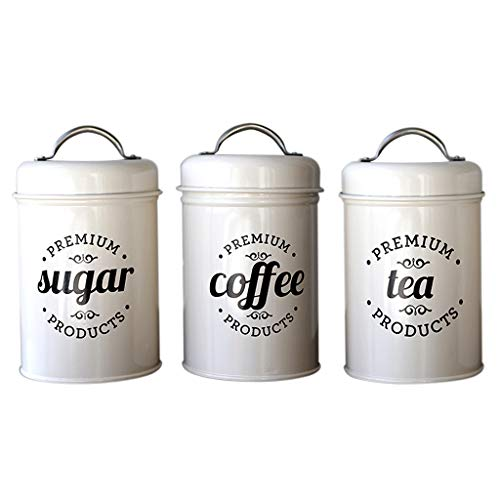 Fenteer Decorative Kitchen Canisters with Lids Metal Rustic Vintage Decor for Sugar Coffee Tea Storage, Pack of - Vintage Canister Coffee