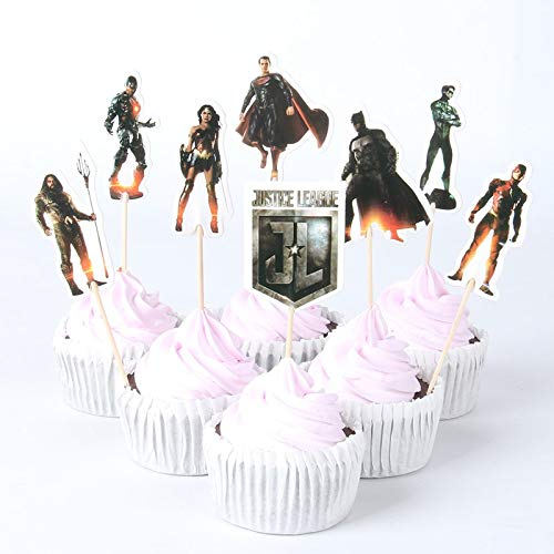 KBN 24pc Justice League SuperHero Cuppcake toppers Boys Girls Party Supply ()
