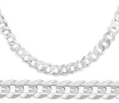 Silver Concave Curb Cuban Bracelet - Mens Bracelet 14k White Gold Cuban Curb Link 8.1mm 8.5 inches