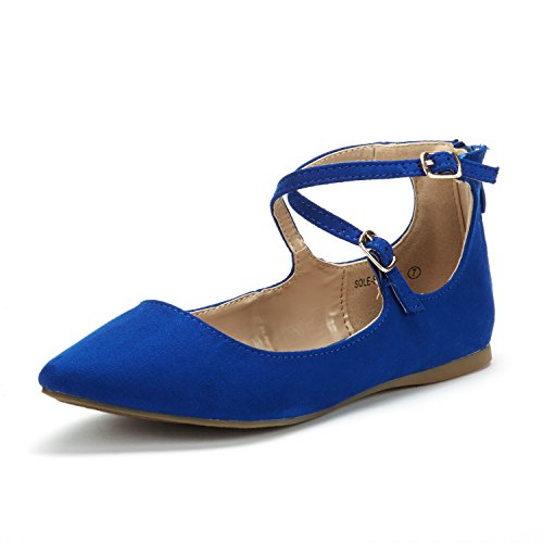 Blue Womens Flat - DREAM PAIRS Women's Sole-Strappy Royal Blue Ankle Straps Flats Shoes - 8.5 M US